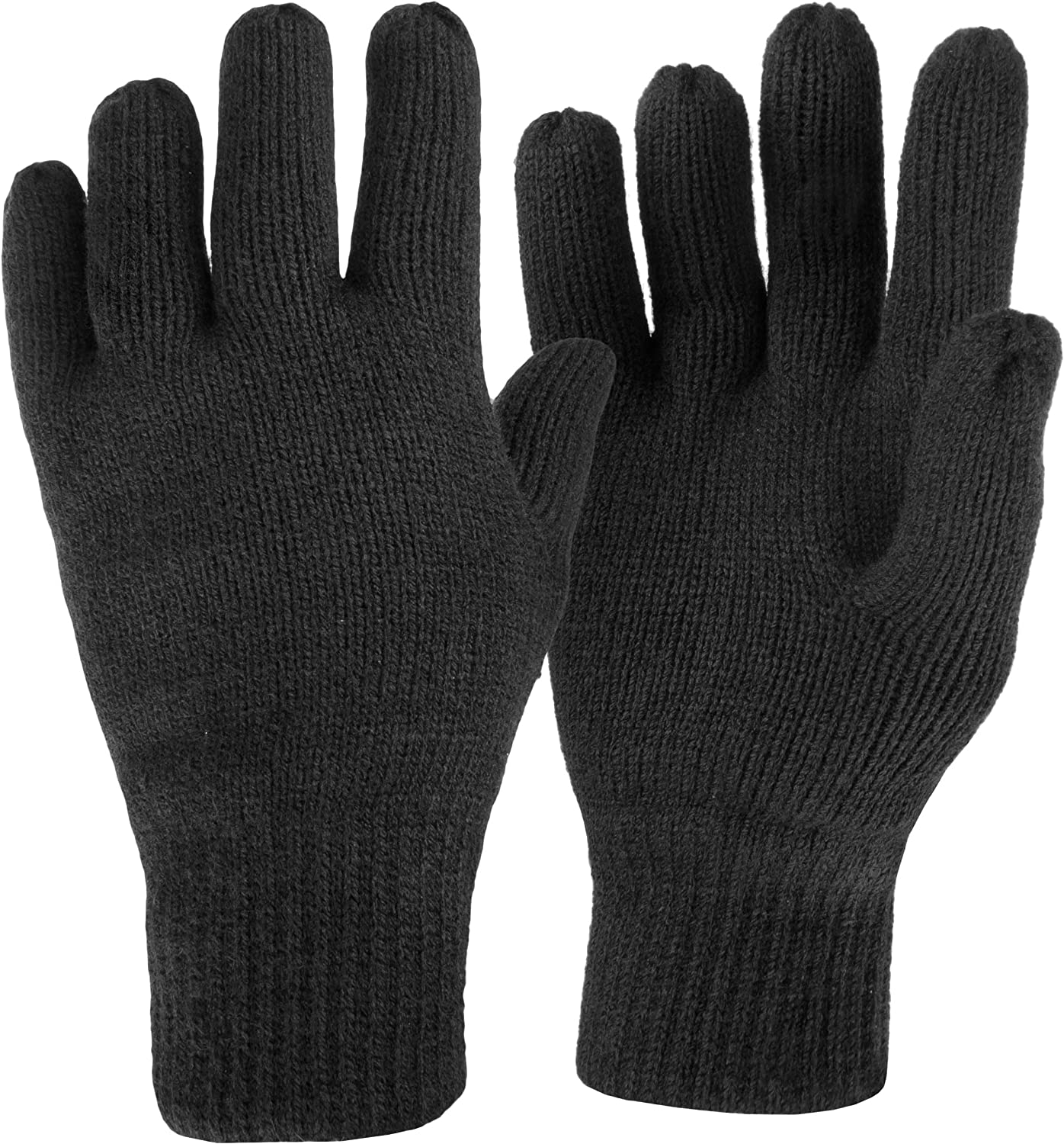 Medium Highlander Drayton Black Gloves ― 100/% Acrylic ― Quality Thinsulate/™ Lining ― Small Large and Extra Large ― Your Perfect Day-to-Day Glove!
