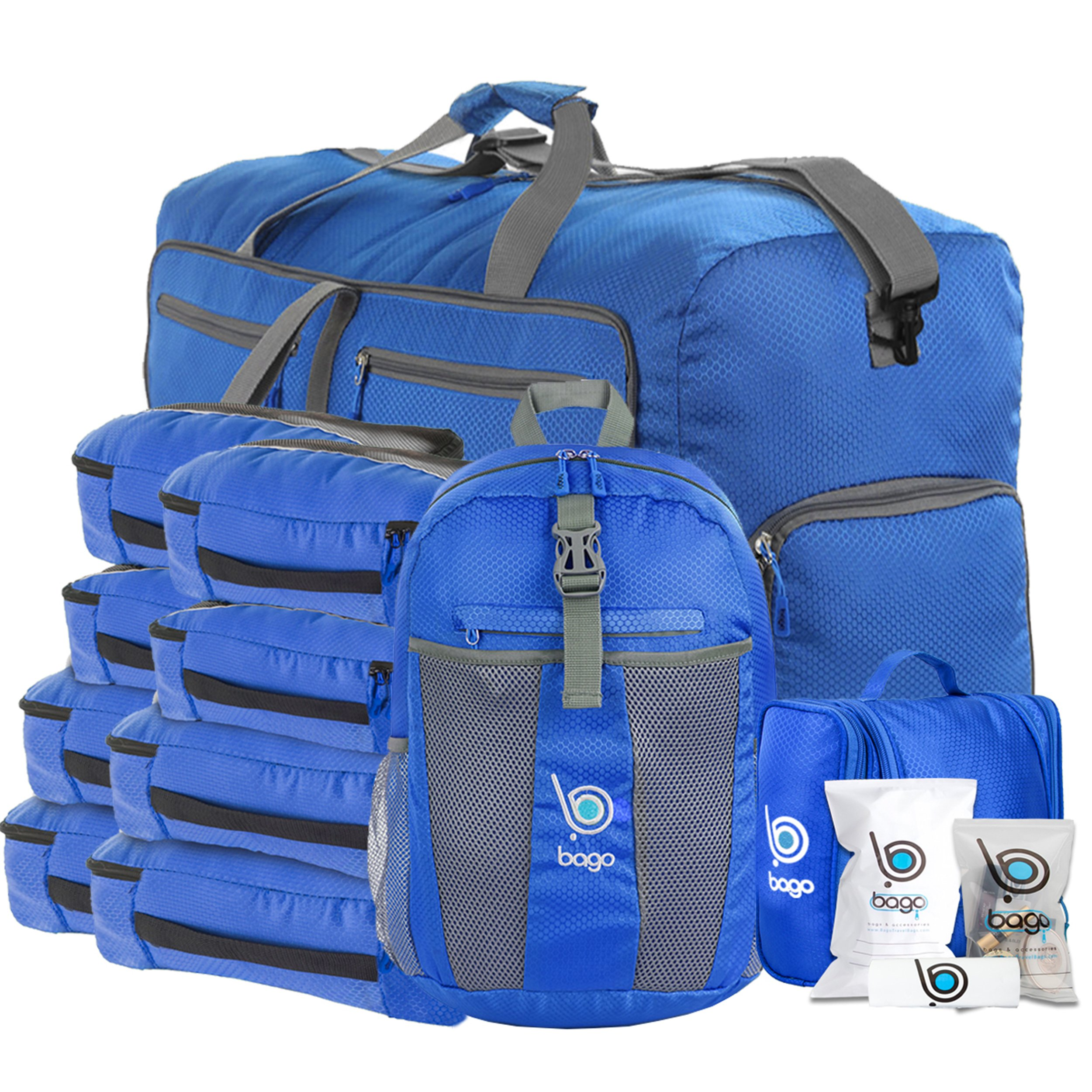 Lightweight Family Travel Set - Luggage, Carryon & Packing Accessories (DeepBlue)