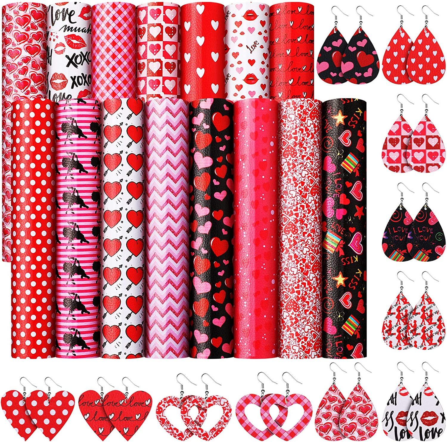 15 Pieces Valentines Day Faux Leather Sheets Heart Printed Faux Leather Fabric Light Glitter Assorted Love Leather Sheets for Making Earrings Hair Bows 8.3 x 6.3 Inch