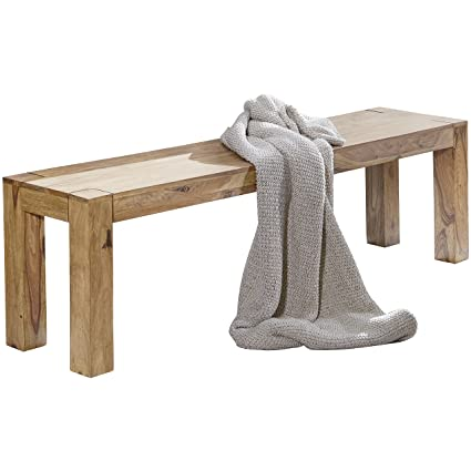 Wohnling De madera de acacia maciza comedor banco de madera 120 x 35 ...