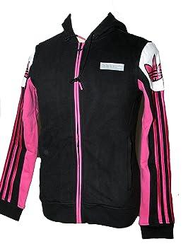 750fa04582 Adidas Originals Femme Noir/Rose Full Zip Veste de survêtement à Capuche  Hardcourt z63028 Noir