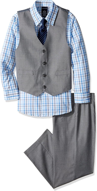 Nautica Boys' 4-Piece Vest Set with Dress Shirt, Bow Tie, Vest, and Pants