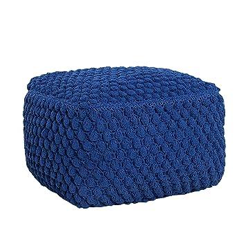 Design Strick Pouf blau 55cm Sitzocker in Handarbeit gestrickt ...