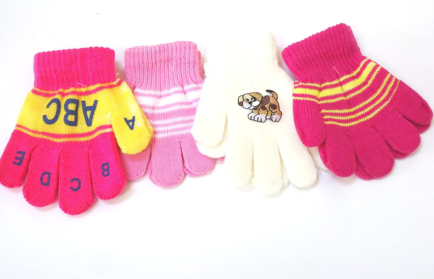 Four Pairs Stretch Sona Magic Gloves for Ages 1-3 Years