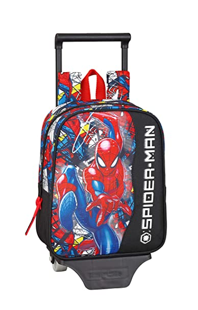 "Spiderman ""Super Hero"" Oficial Mochila Guardería Con Carro Safta, 220x100x270mm"