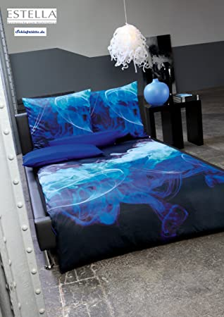 Estella Mako Satin Bettwäsche Fog Blau 155x220 Cm 80x80 Cm Amazon