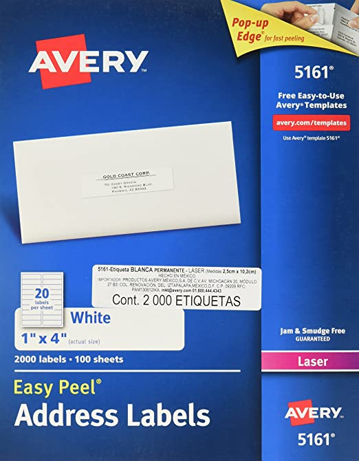 Amazon.com : Avery Easy Peel Address Labels for Laser Printers 1 ...