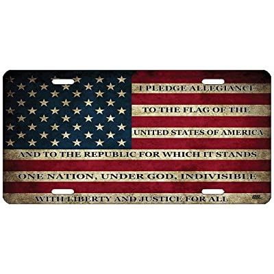 Rogue River Tactical USA Flag License Plate Novelty Auto Car Tag Vanity Gift American Patriotic Pledge of Allegiance: Automotive