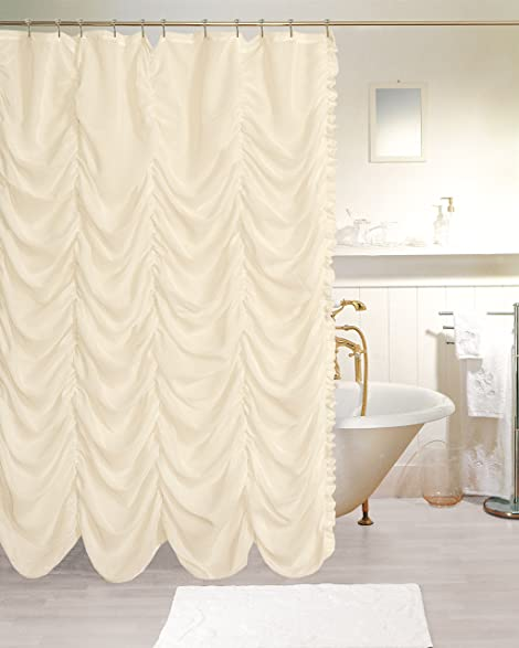 Dainty Home Theater Fabric Shower Curtain, Ivory, 20u0026quot; X  26u0026quot;/Standard