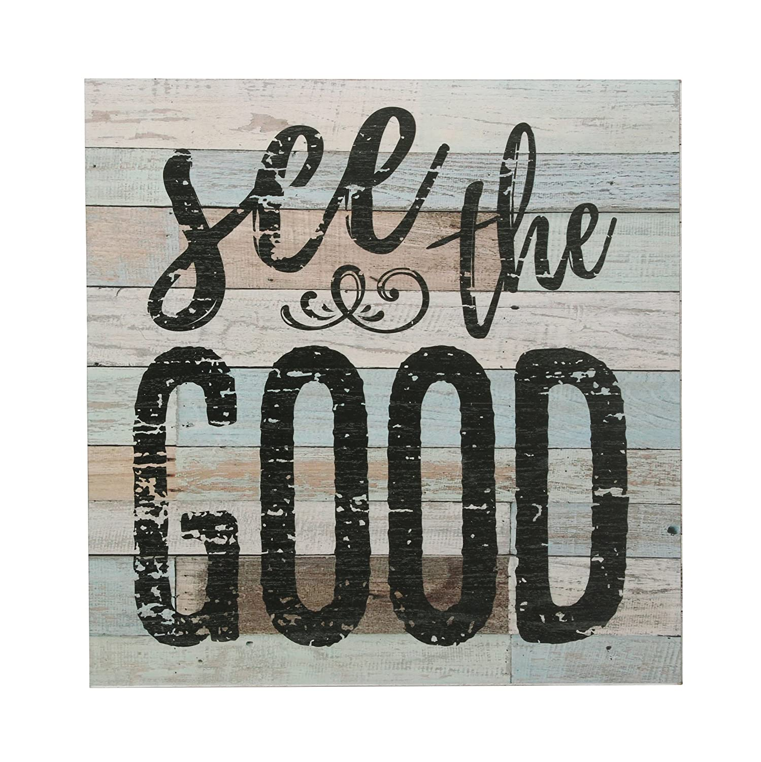 "Stonebriar Rustic 15 Inch Worn Blue and White Wood Wall Art with Inspirational ""See the Good"" Quote, Decorative Wall Decor for the Living Room, Kitchen, Kids Room, Office, and Bedroom"