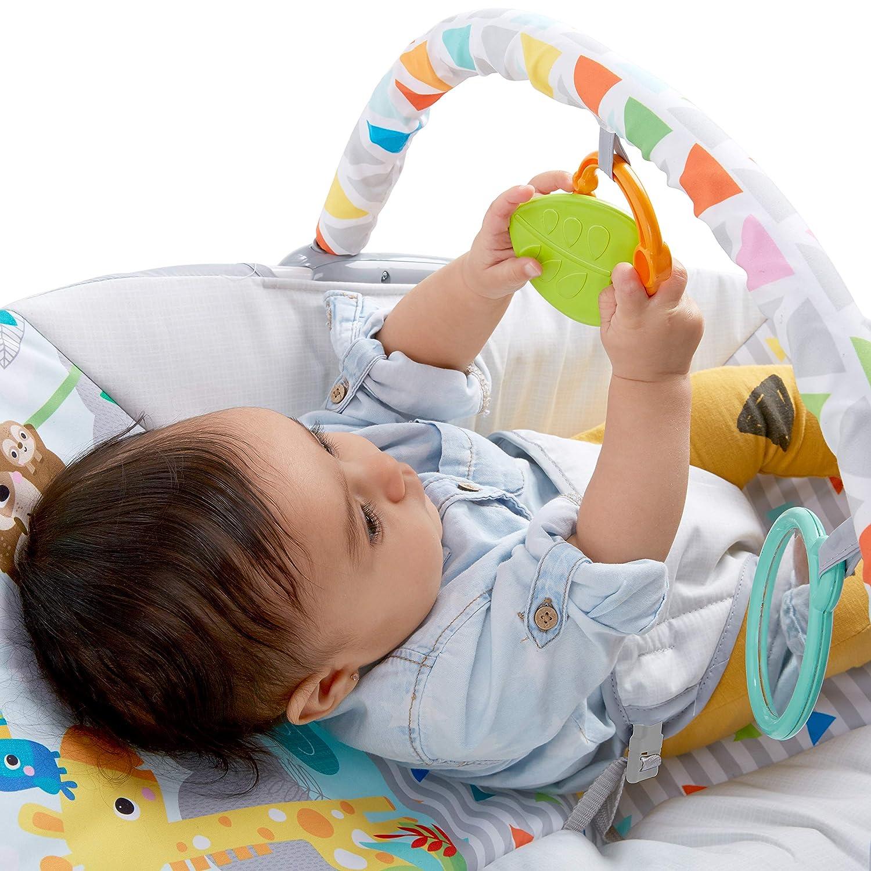 Bright Starts 2 interaktiven Spielzeugen Sicherheitsgurt und rutschfesten F/ü/ßen abnehmbarem Spielzeugb/ügel Flamingo Vibes Wippe mit Vibrationen