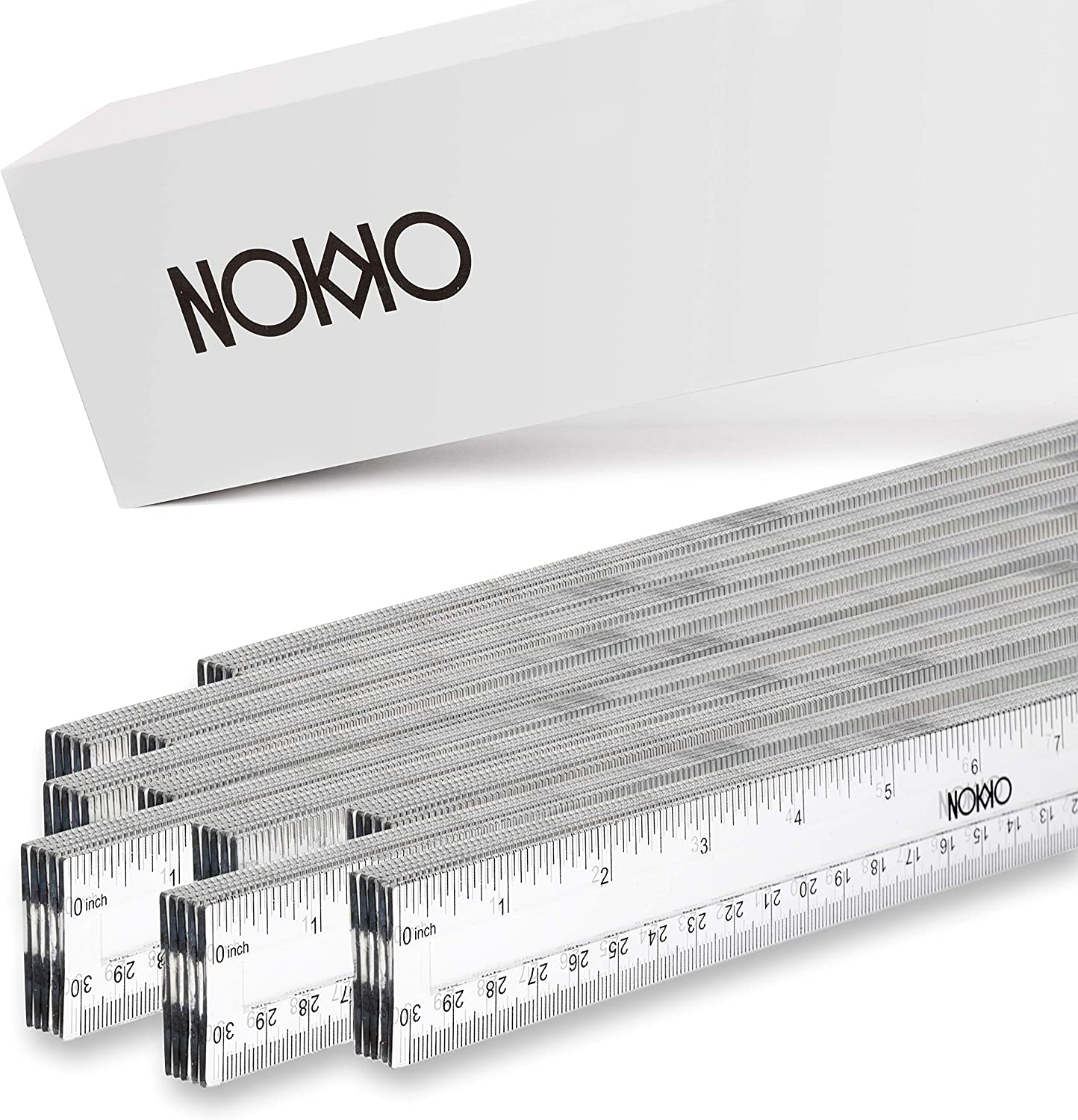 NOKKO Clear Plastic Rulers Bulk 50 Piece Pack - Transparent 12 Inch / 30 Centimeter Straight-Edge Measurement Tool - Easy to Read School and Office Supplies for Students, Teachers and Artists