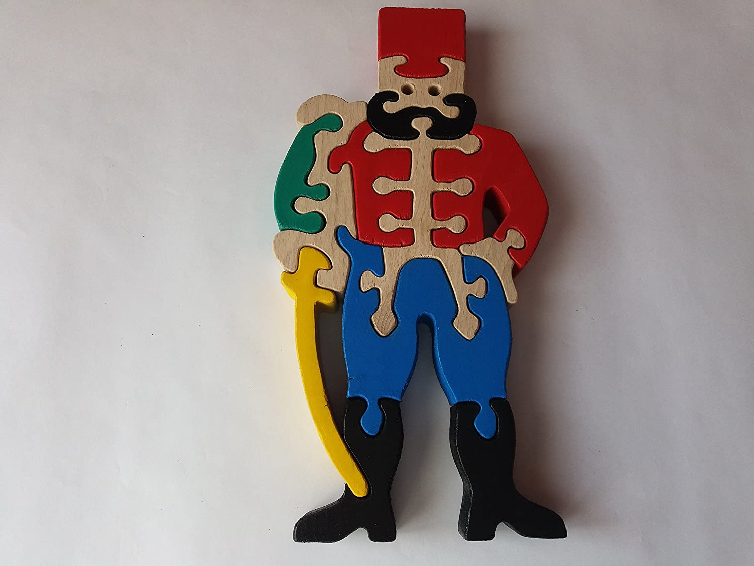 Wooden puzzle soldier handmade historical fighter toy gift for children massive beech wood toy army war soldier