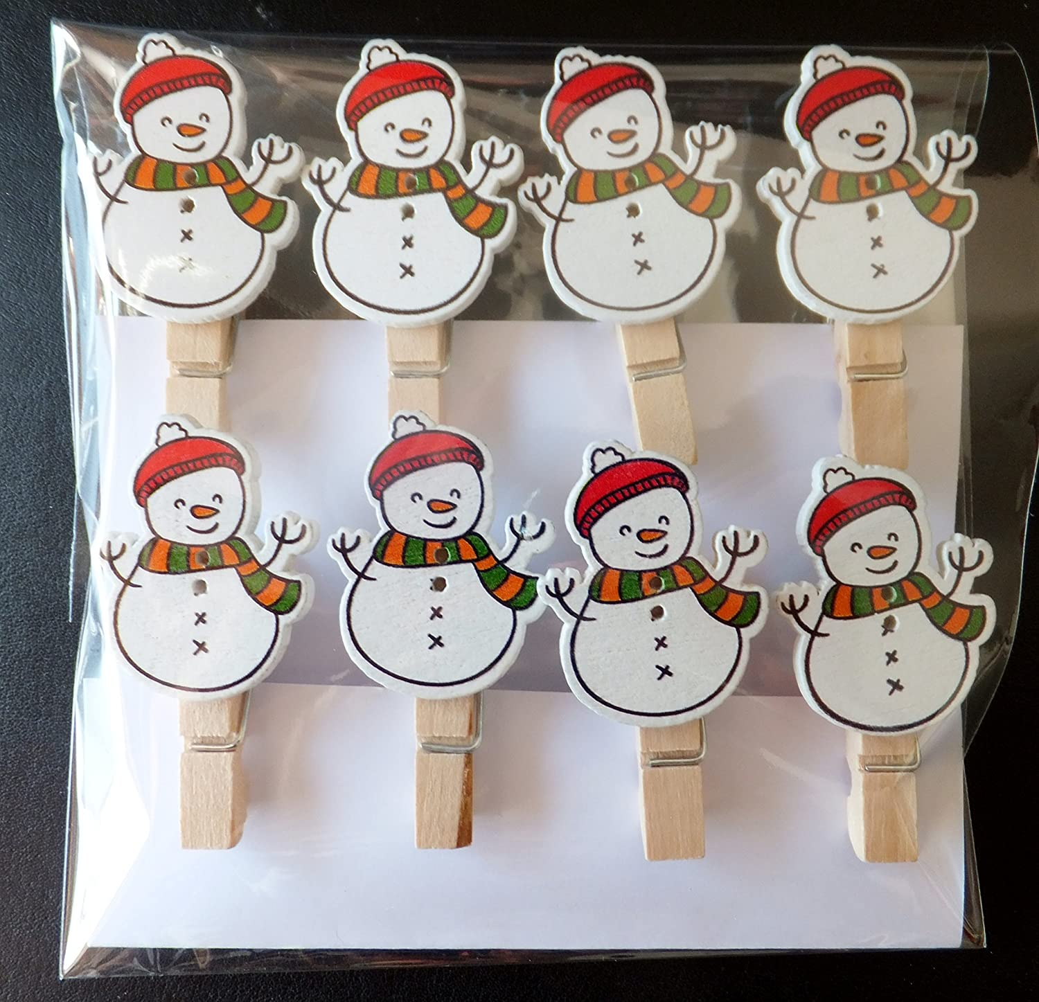 cards-crafts-Photo Clips 8Pcs Mini Wooden Christmas Snowman Pegs 35mm