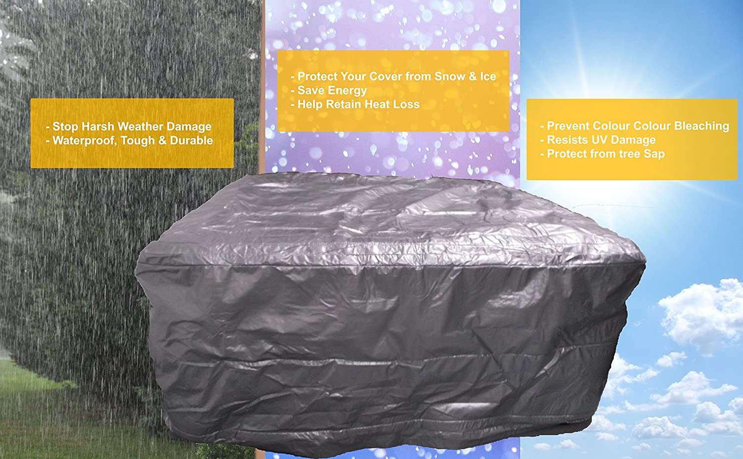 Hot Tub protection Bag, Winter Weather Proof Spa Cover (1740 x 1740 x 920) Happy Hot Tubs