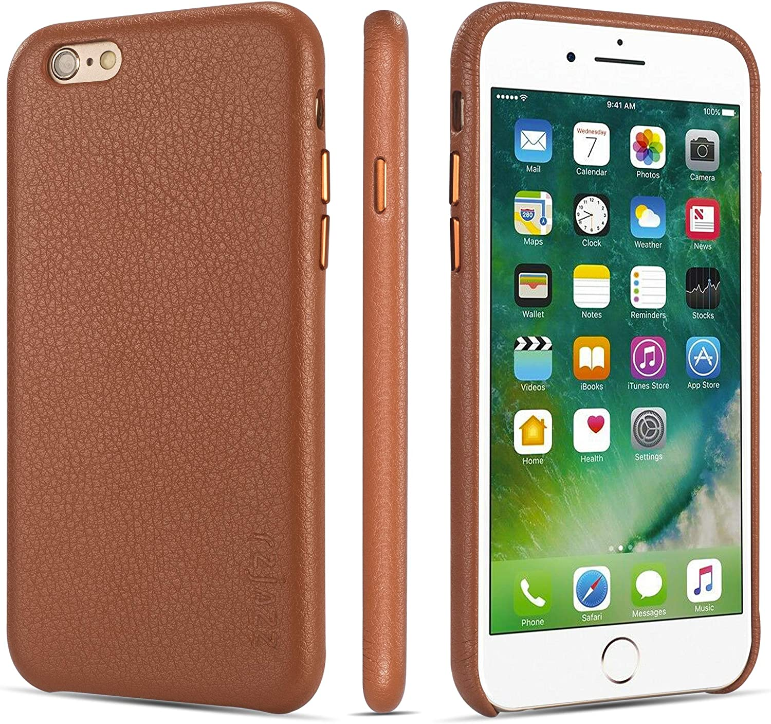rejazz iPhone 6 Case iPhone 6s Case Anti-Scratch iPhone 6 Cover iPhone 6s Cover Genuine Leather Apple iPhone Cases for iPhone 6/6s (4.7 Inch)(Brown)
