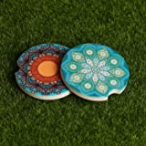 Absorbent Ceramic Car Coasters Pack of 2,Stoneware