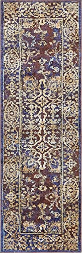 Unique Loom Augustus Collection Boho Traditional Vintage Dark Blue Runner Rug 2 2 x 6 7