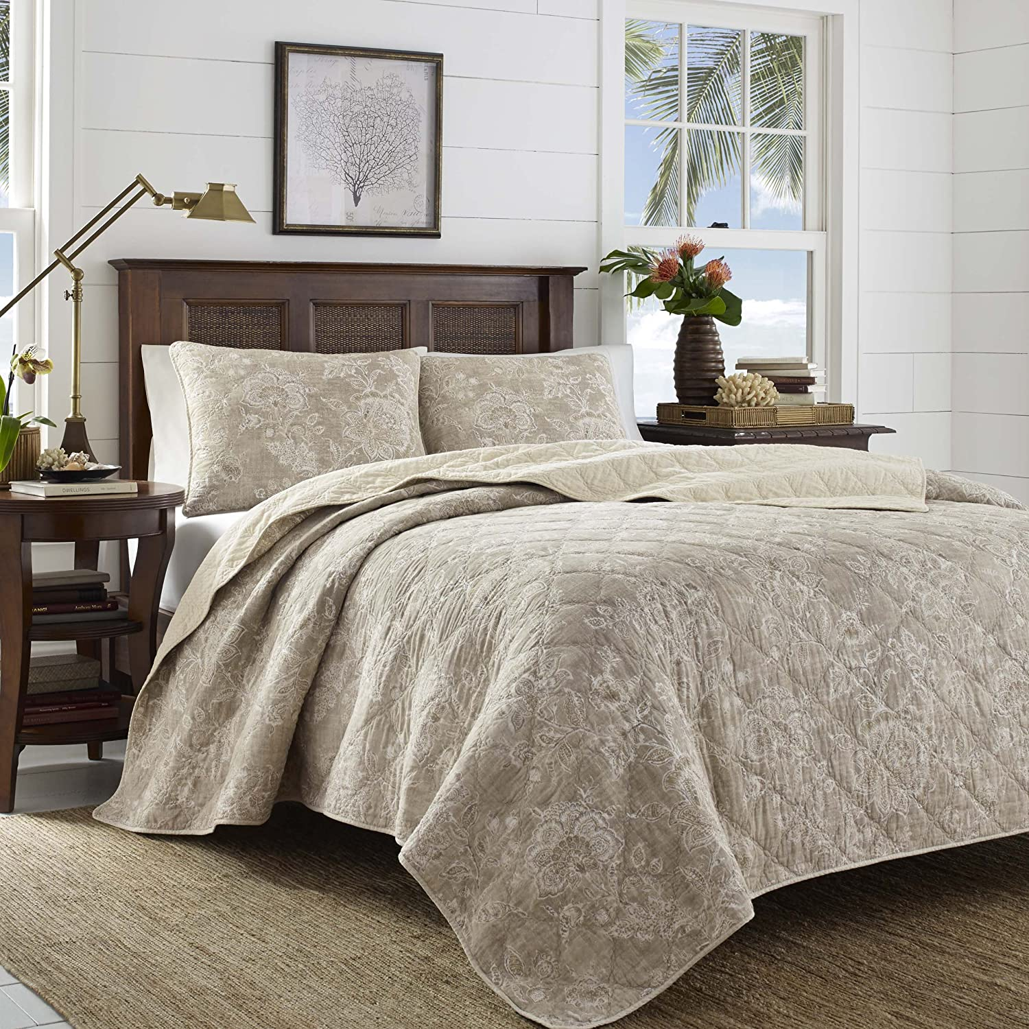 Tommy Bahama Tidewater Jacobean Quilt Set, Full/Queen, Medium Brown