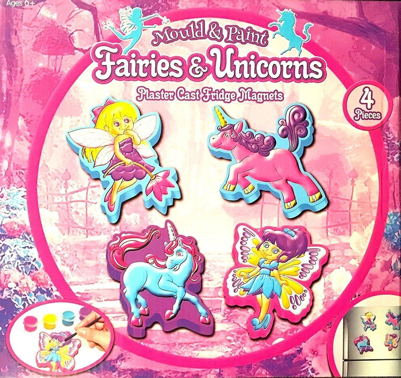 CAROUSEL F/ées et Licornes Pl/âtre Fonte Moule et Peinture Faite Votre Propre Aimants de R/éfrig/érateur Set Craft Activit/és pour Enfants
