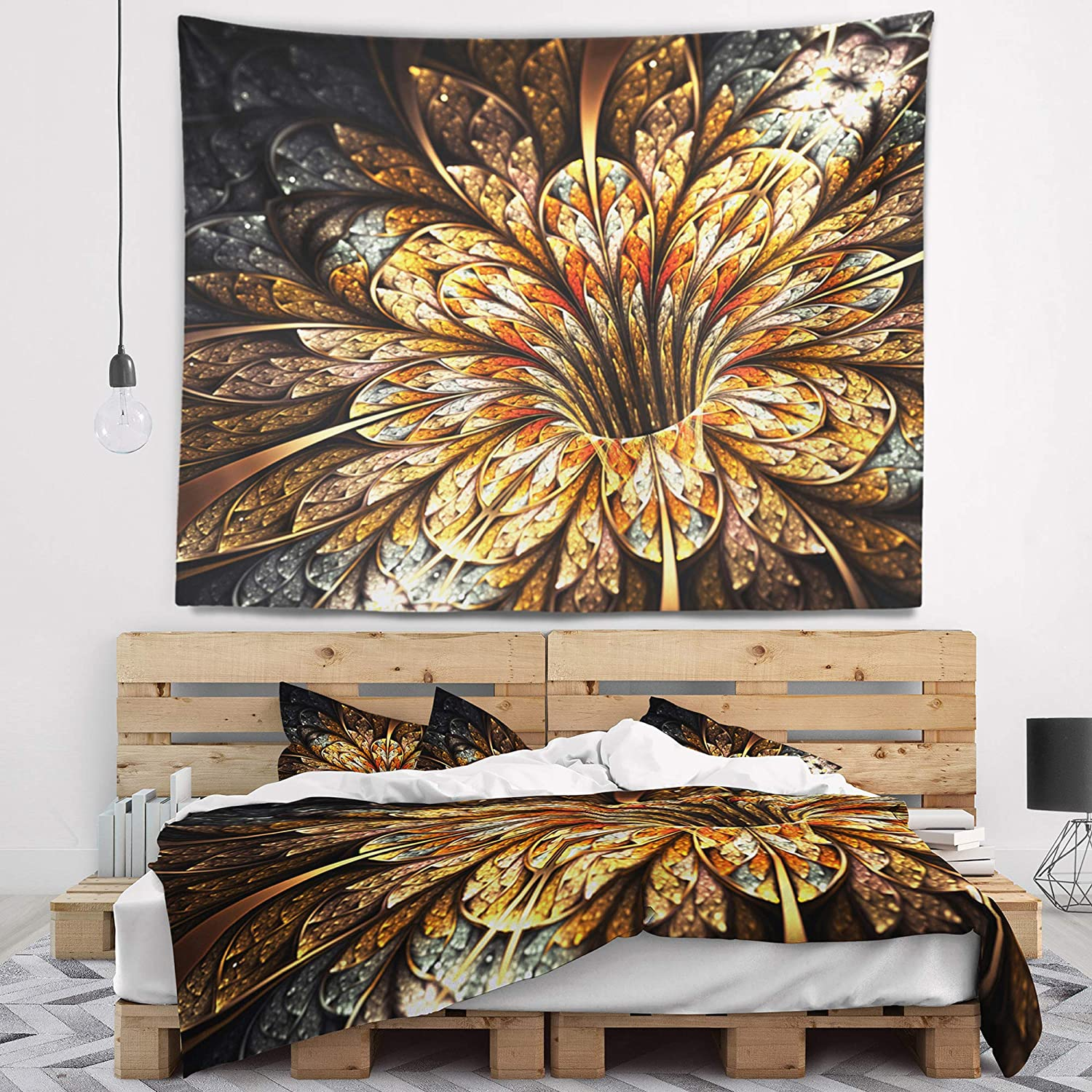 39 in Created On Lightweight Polyester Fabric Designart TAP8884-39-32  Golden Shiny Fractal Flower Floral Blanket D/écor Art for Home and Office Wall Tapestry Medium x 32 in