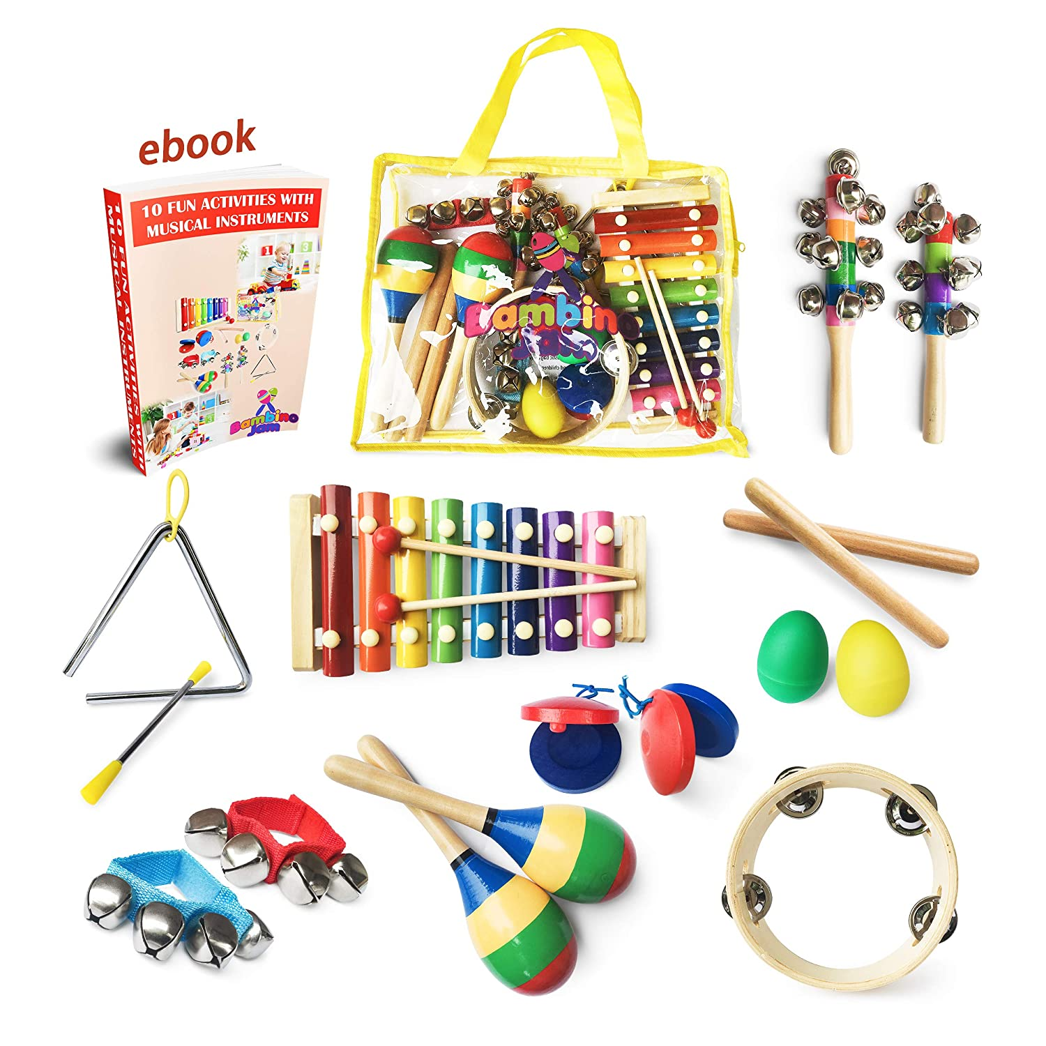 Musical Instruments Set for Toddler & Preschooler 15 Pcs Wooden Montessori Educational Learning Toys for Young Children
