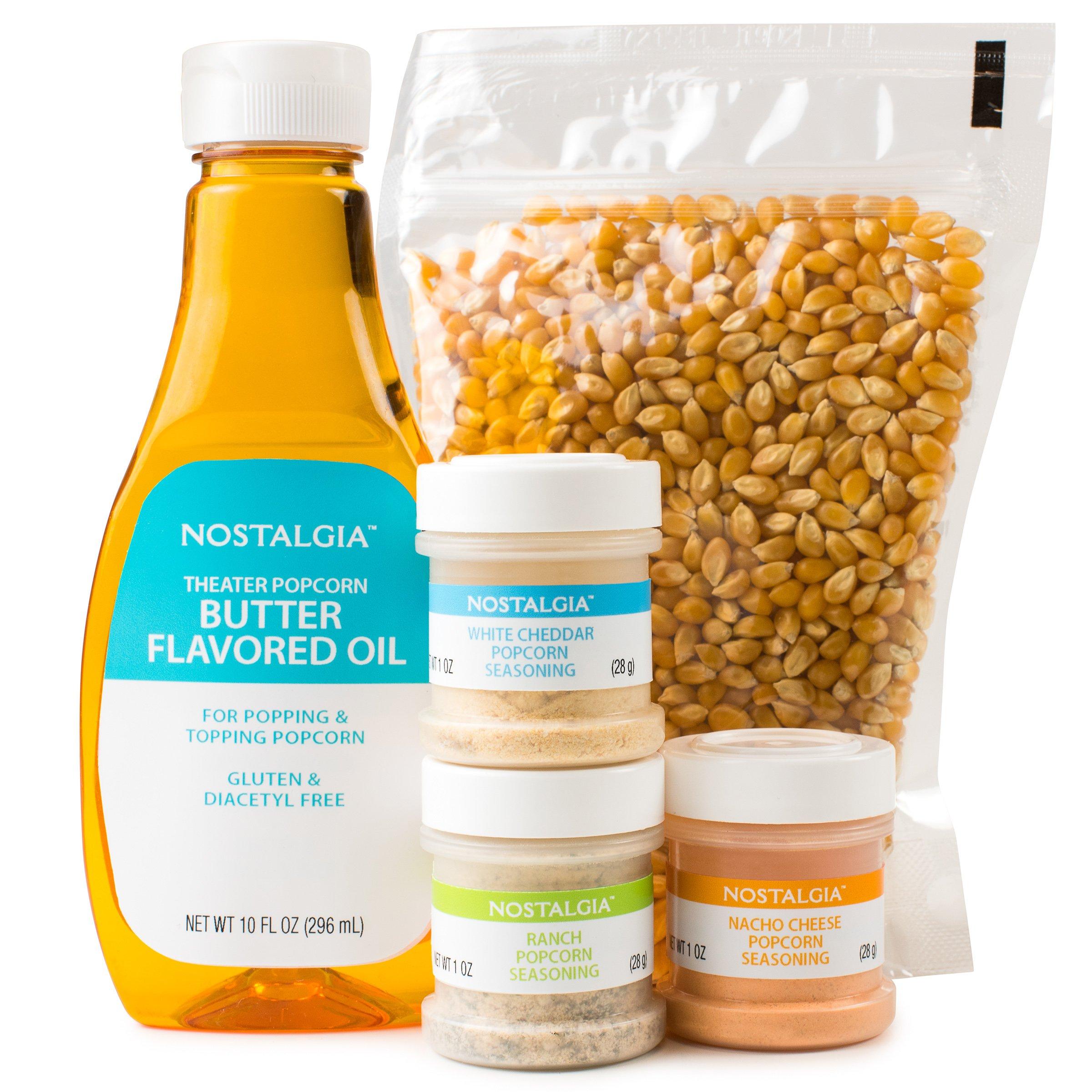 Nostalgia KPK400 Hot Air & Kettle Popcorn Kit, 3 Seasonings, Oil, Popcorn Kernels by NOSTALGIA