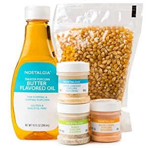 Nostalgia KPK400 Hot Air & Kettle Popcorn Kit, 3 Seasonings, Oil, Popcorn Kernels