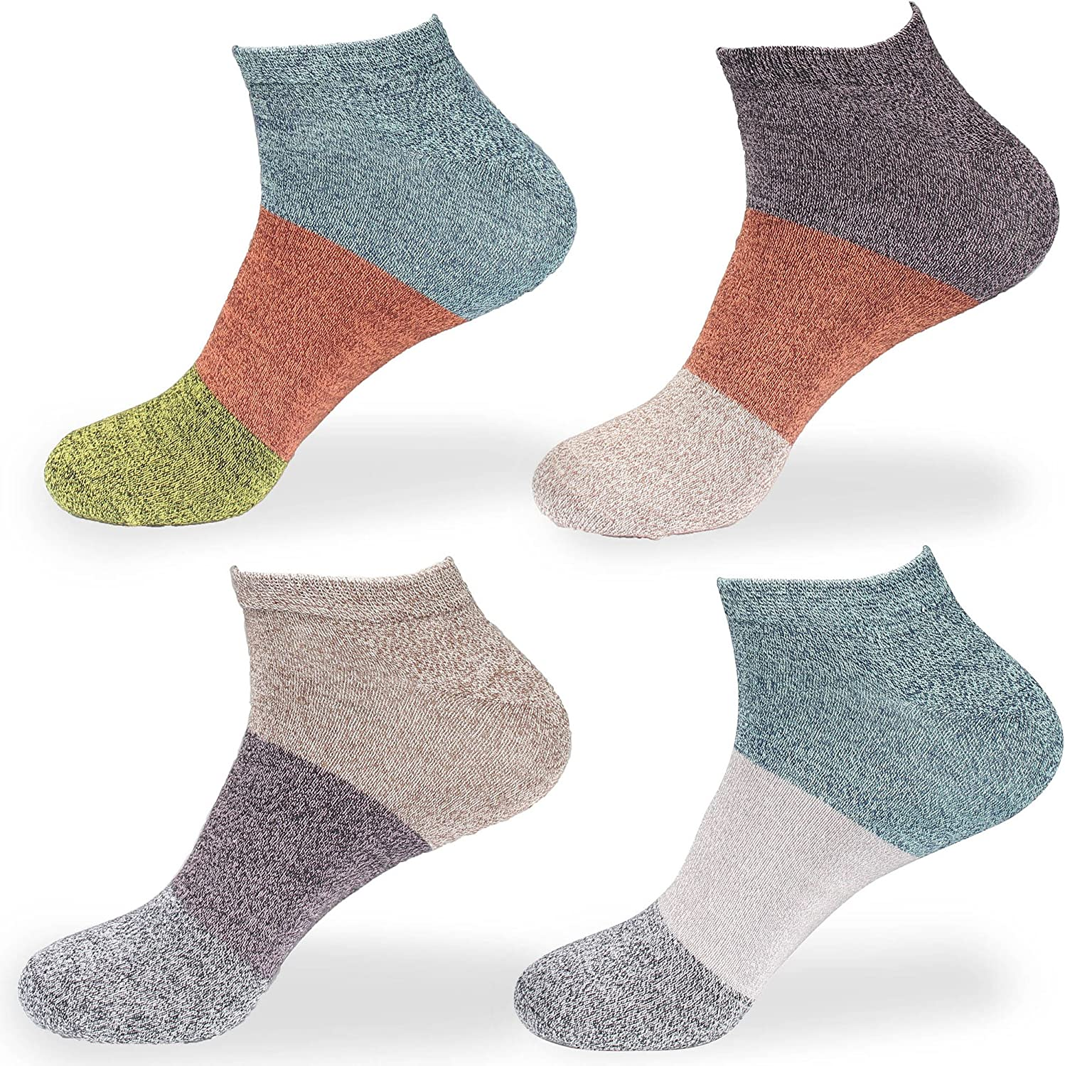 Womens Rayon from Bamboo Fiber Stripe Style Sports Superior Wicking Athletic Casual Ankle Socks