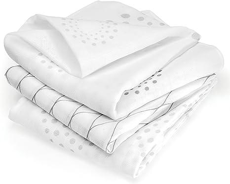 Muselina bebé algodón - 3 Ud, 80x80 cm, estampado Diseño Grafico, Tejido doble con bordes reforzados, certificado OEKO-TEX - Paños de gasa color blanco - gris: Amazon.es: Bebé