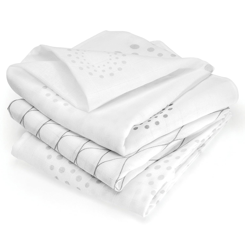 Mullwindeln 3er Pack - Spucktücher 80x80 cm - Graphic Design | Doppelt Gewebt & Ökotex Geprüfte Baby Stoffwindeln / Mulltücher aus 100% Baumwolle - Weiß Grau Makian