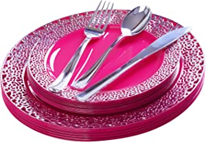 FOMOICA Hot Pink Silver Disposable Plastic Plates and Silverware - 125 Pcs Premium Plastic Dinnerware Set – Reusable Dinner Plates, Forks, Spoons, Knives – Birthday Parties, Wedding, Bridal shower