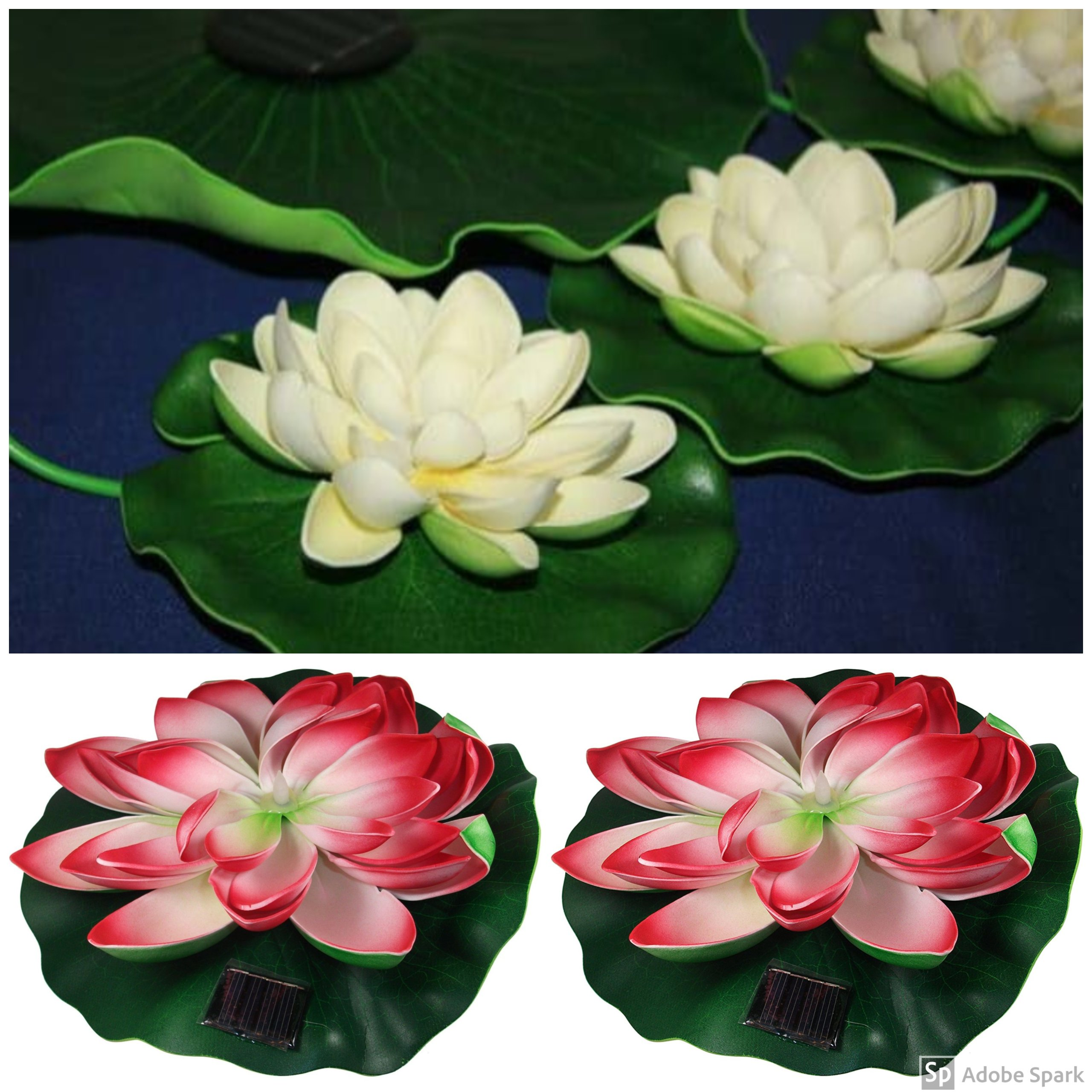Solar Pond Decor Kit, Includes 7'' Lily, 10'' Lily & White Lily Grouping with 3 Lilies