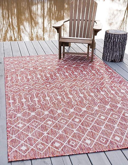 Outdoor Collection tapetes para el Suelo de jardín y Patio, Color Rojo óxido, 7 pies x 10 pies: Amazon.es: Hogar