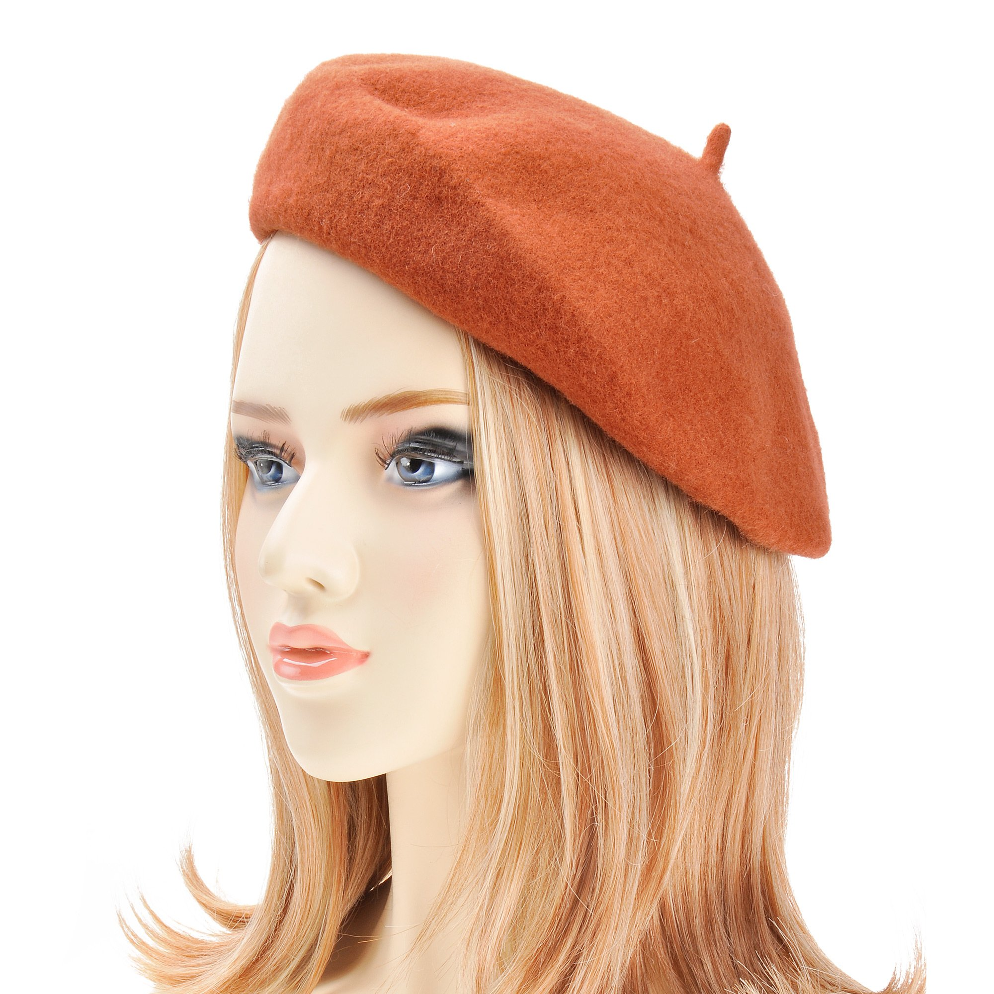 ZLYC Wool Beret Hat Classic Solid Color French Beret for Women (Rust)