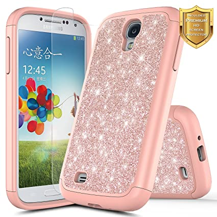 Galaxy S4 Case W Screen Protector Hd Clear Nagebee Glitter Sparkle Shiny Bling Hybrid Protective Armor Soft Silicone Cover Cute Case Compatible