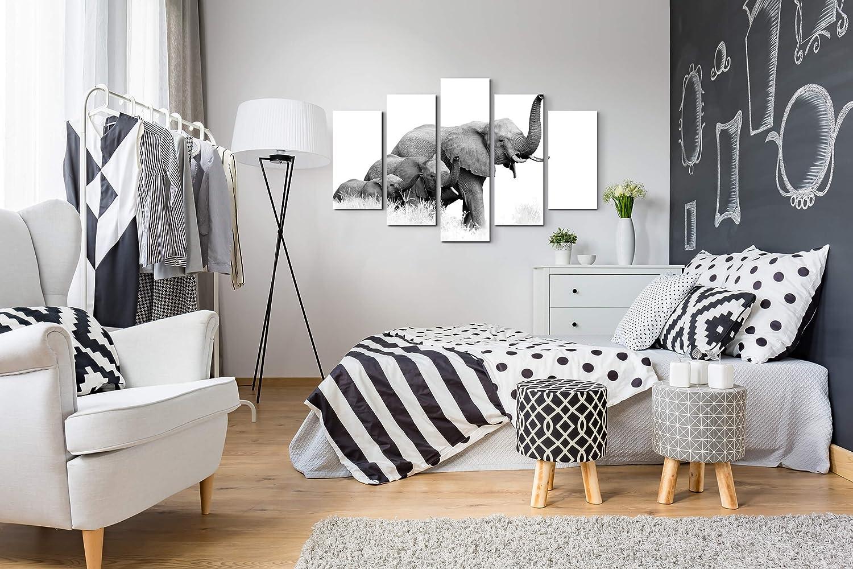3x90x40cm Paul Sinus Art Tableau sur toile tendue Motif famille d/él/éphant Toile