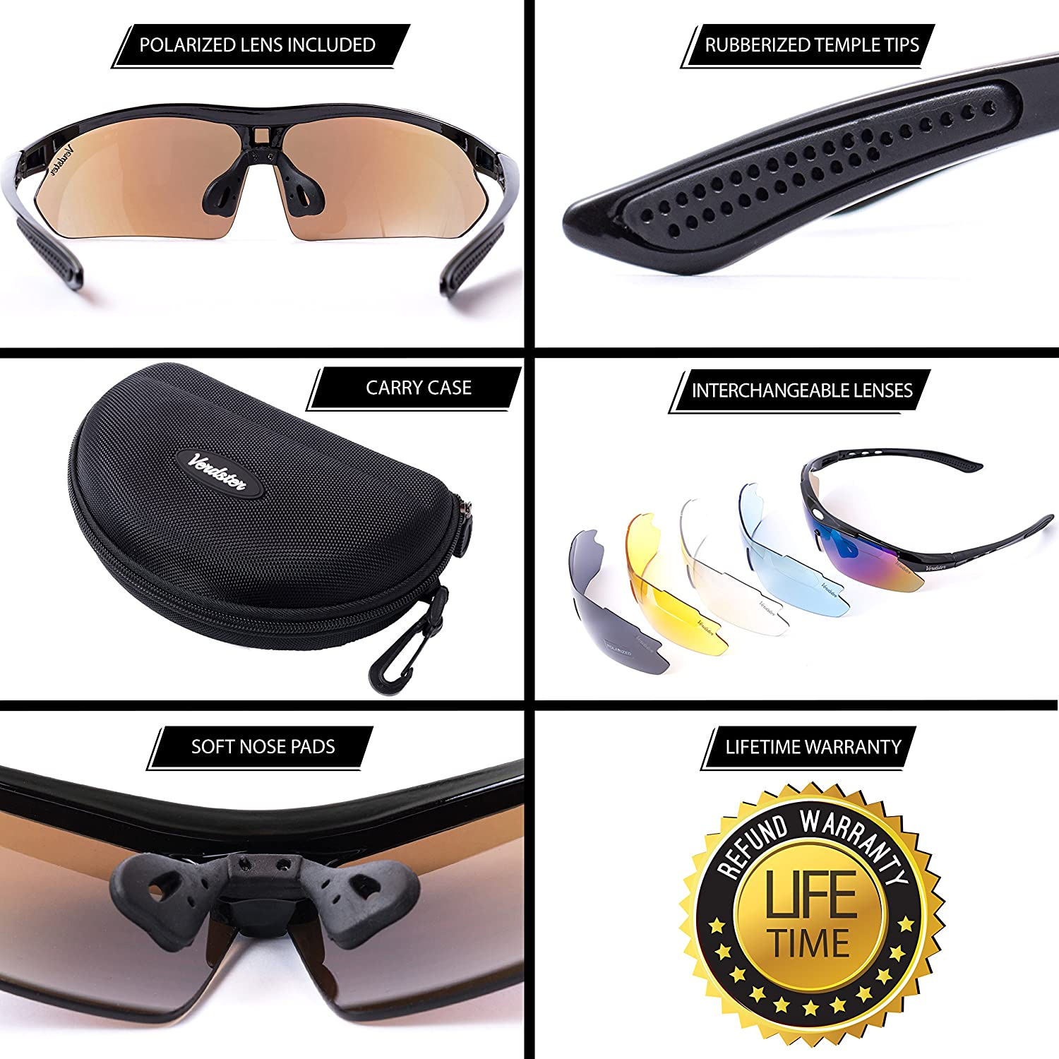 68bab8f9f2 Amazon.com  Verdster TourDePro Polarized Cycling Sport Sunglasses For Men  and Women 5 Lenses