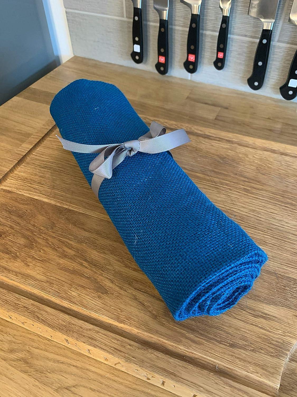 Hollyoake Chemin de Table Rustique en Toile de Jute ourl/ée Bleu 2 m x 30 cm