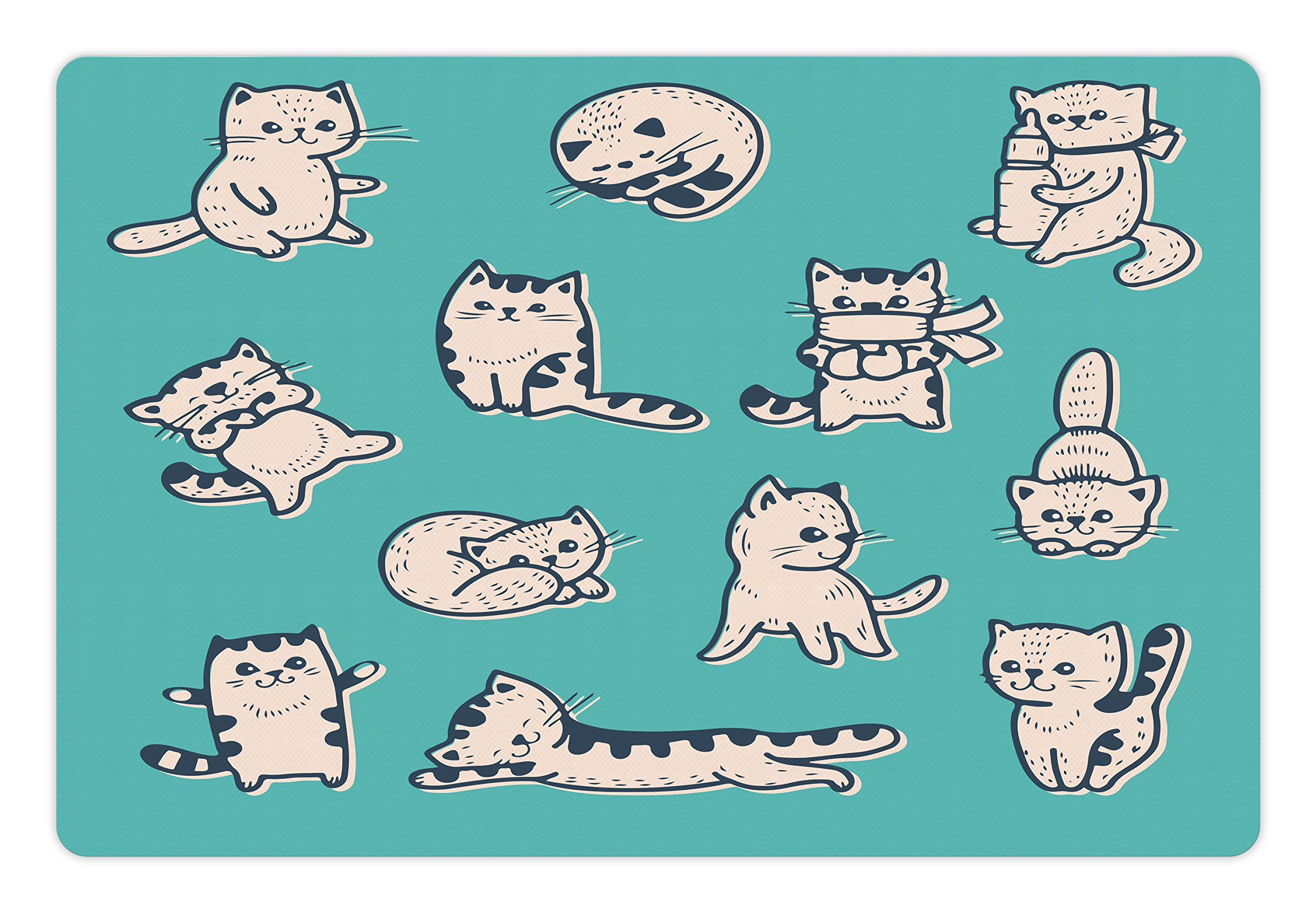 Lunarable Funny Pet Mat for Food and Water, Cute Kitties in Various Gestures Sleeping Playful Babyish Cat Animal Illustration, Rectangle Non-Slip Rubber Mat for Dogs and Cats, Aqua Cream