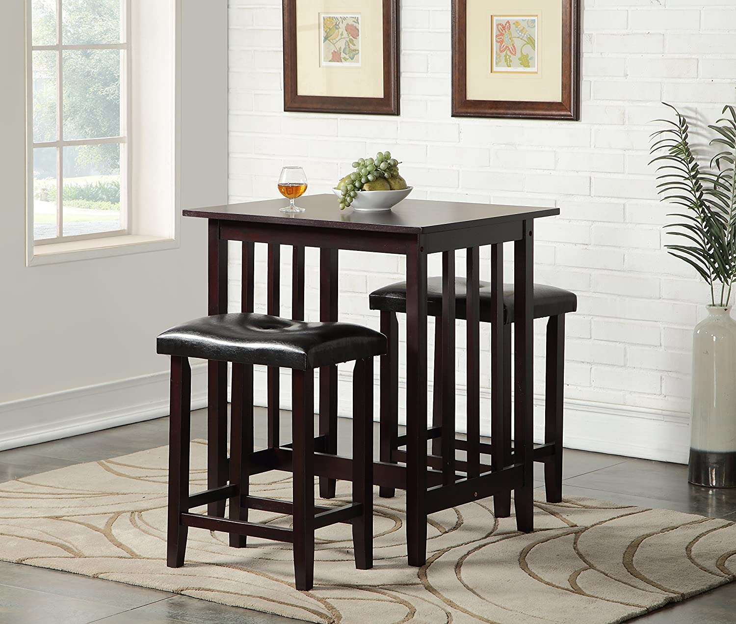 amazoncom roundhill furniture 3piece counter height dining set with saddleback stools black table u0026 chair sets