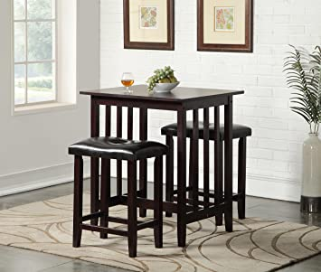 roundhill furniture 3piece counter height dining set with saddleback stools espresso