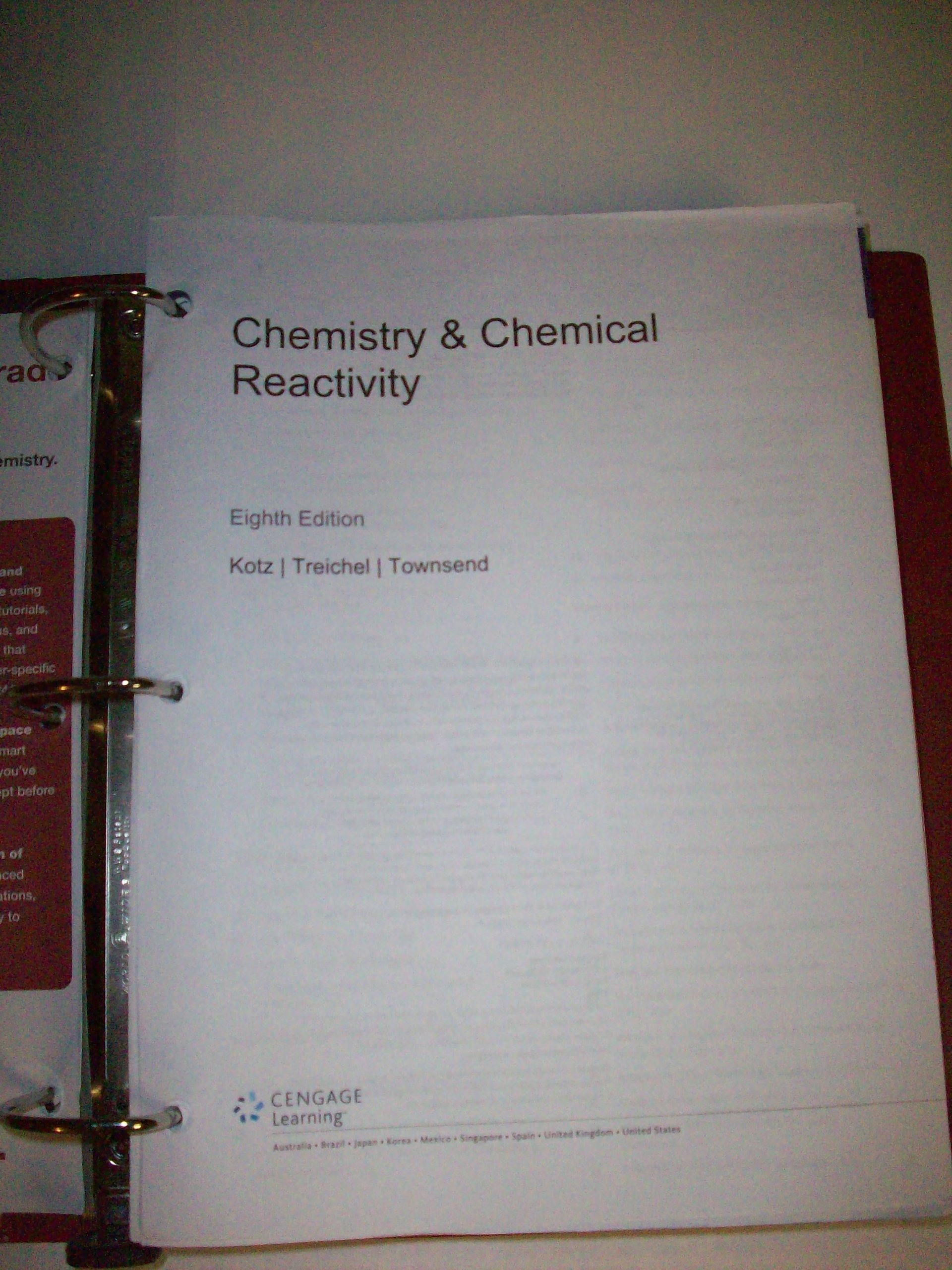 Chemistry & Chemical Reactivity Eighth Edition: John C. Kotz, Paul M.  Treichel, John Townsend: 9781133270898: Amazon.com: Books