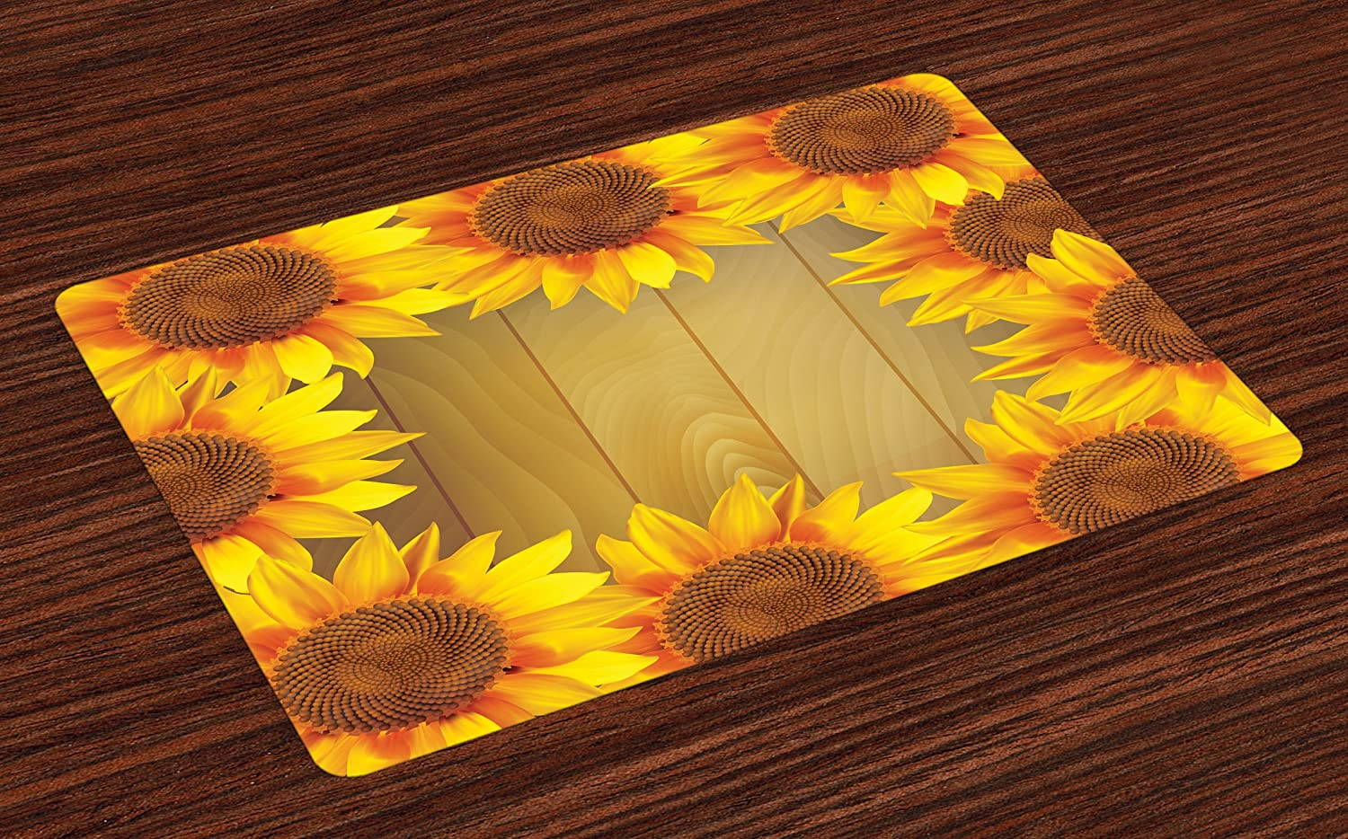 Ambesonne Sunflower Place Mats Set of 4, Sunflower Arranged in A Circle on Wood Print Flower Frame Illustration, Washable Fabric Placemats for Dining Room Kitchen Table Decor, Brown Orange