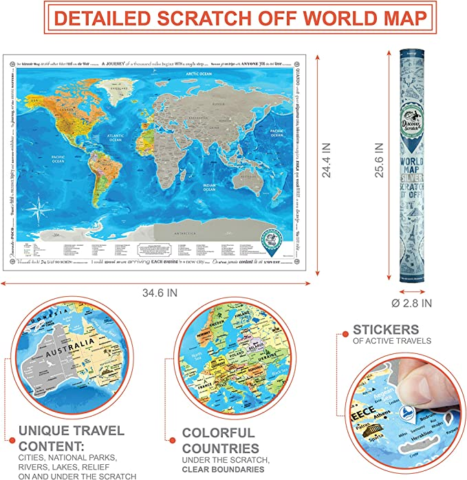 Mapa del Mundo para Raspar Grande 88 x 62 cm Mapamundi Rasca Plata Discovery Map Carta para Rascar Regalo para Viajeros Mapa Mundi Rascar Detallado Scratch off World Travel Map Poster