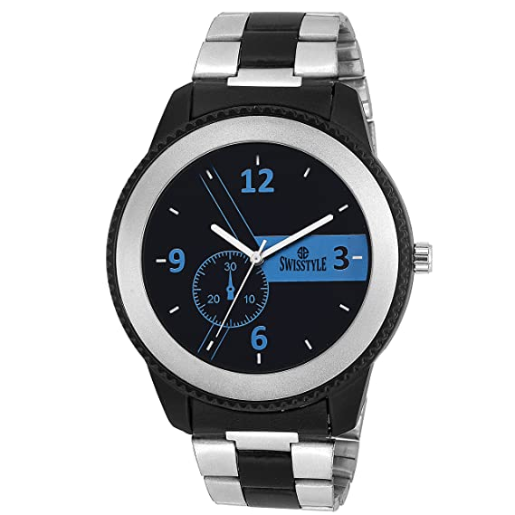 c462699d545 Buy Swisstyle Analogue Black Dial Mens Watch-Ss-Gr8555-Blu-Ch Online at Low  Prices in India - Amazon.in