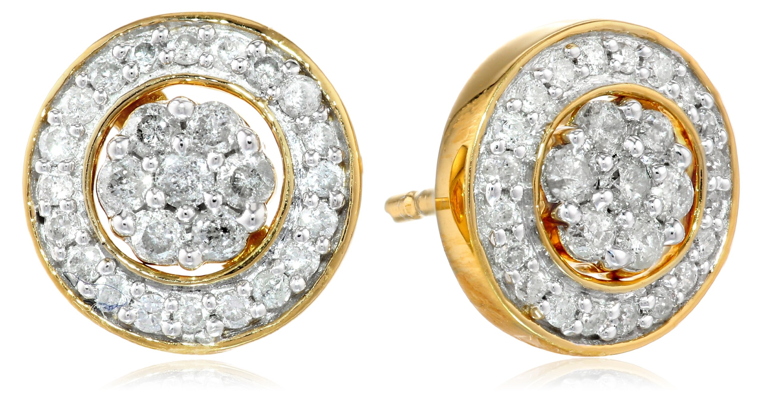 18K Yellow Gold over Sterling Silver Diamond Cluster Jacket Stud Earrings (1/2 cttw)