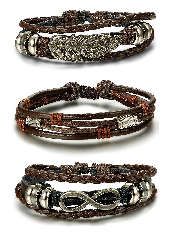 Besteel 3PCS Braided Leather Bracelets for Men Women Friendship Infinity Bracelet Feather, Adjustable Adjustable black B017-BL