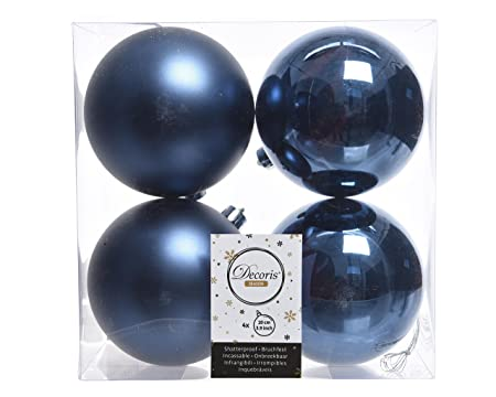 christmas tree baubles 10 cm pvc 100 mm navy bluemidnight bluenavy - Navy Blue Christmas Decorations