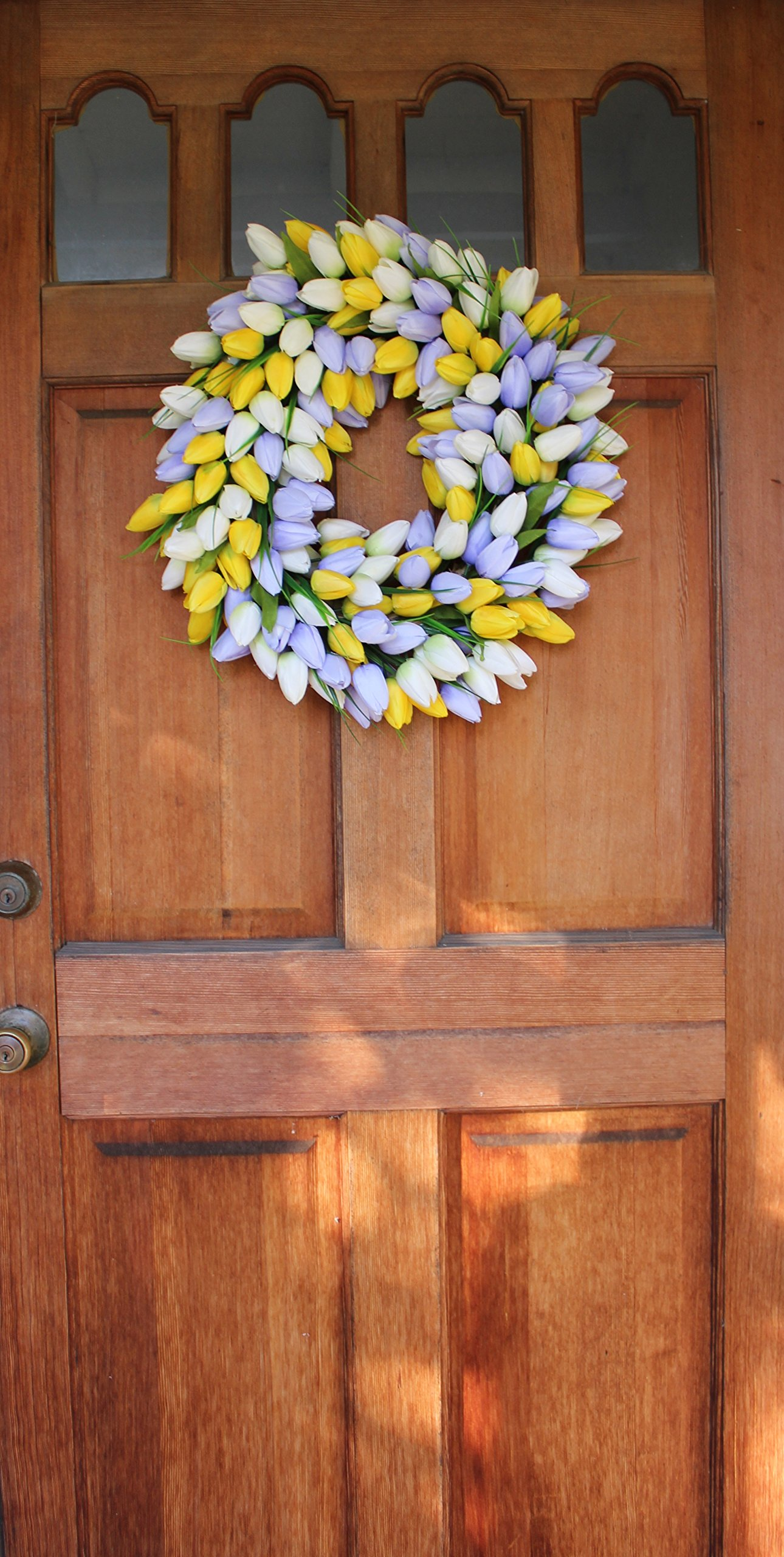 The Wreath Depot Yellow and Pale Lavender Tulip Front Door Wreath, 19 Inch